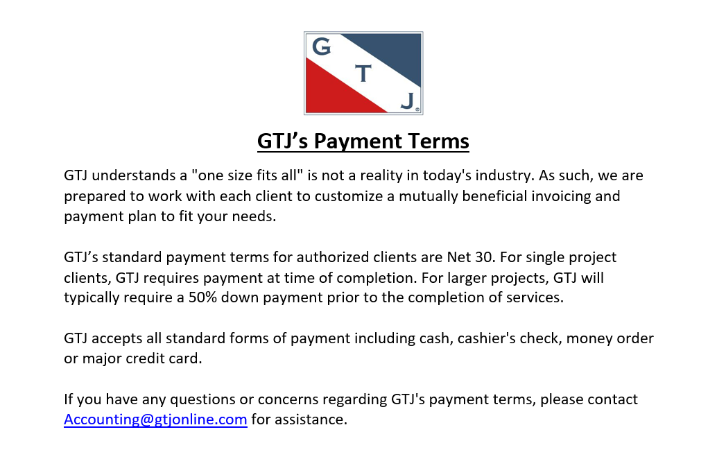 Please click in the Payment Terms box to indicate you have Read and Accepted  GTJ's Payment Terms